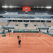 PARIS, FRANCE May 26. Naomi Osaka of Japan and Ashleigh Barty of Australia practicing on Court Philippe-Chatrier during a practice match in preparation for the 2021 French Open Tennis Tournament at Roland Garros on May 2pm 6th 2021 in Paris, France. (Photo by Tim Clayton/Corbis via Getty Images)
