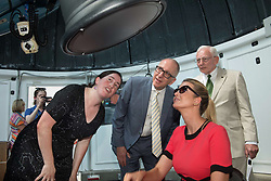 Left to right: Genevieve  de Messieres, NASM Educational Technician, Dr. David Skorton, Smithsonian Secretary,  Ivanka Trump, General John R. Daily (Ret), Director of the Air and Space Museum watches the 2017 Solar Eclipse through a telescope at NASM in Washington, DC, Monday, Aug. 21, 2017.