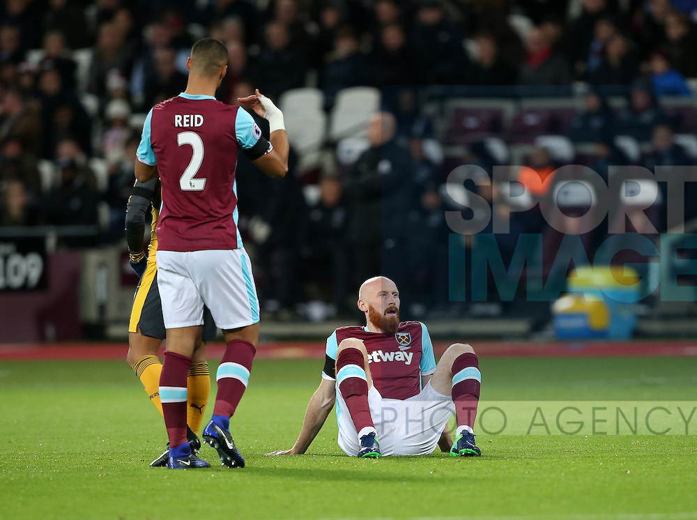 West Ham's James Collins goes off injured after 2 minutes during the Premier League match at the London Stadium, London. Picture date December 3rd, 2016 Pic David Klein/Sportimage