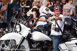 Chopper Dave Droege on Main Street during Daytona Bike Week. Daytona Beach, FL. USA. Sunday March 11, 2018. Photography ©2018 Michael Lichter.