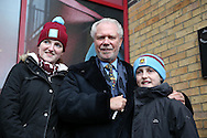 David Gold, the West Ham United posing for photo's with fans outside the Boleyn Ground before k/o. The Emirates FA cup, 3rd round match, West Ham Utd v Wolverhampton Wanderers at the Boleyn Ground, Upton Park  in London on Saturday 9th January 2016.<br /> pic by John Patrick Fletcher, Andrew Orchard sports photography.