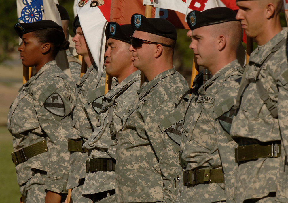 Sept. 27, 2006, Fort Hood, TX: Soldiers of the 1st Cavalry division based in Fort Hood, Texas rehearse for the traditional casing ceremony prior to Army unit's deployment to Iraq.  ©Bob Daemmrich /