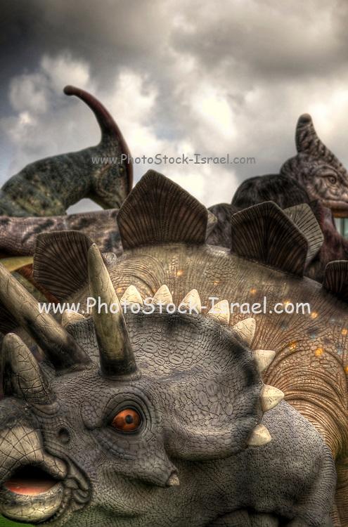 Triceratops three horned Dinosaur at a dinosaur park