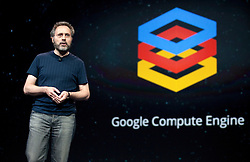 Urs Holzle, Senior Vice President for Technical Infrastructure at Google, introduces new Compute Engine infrastructure service during the Google I/O Developer Conference in San Francisco, California.
