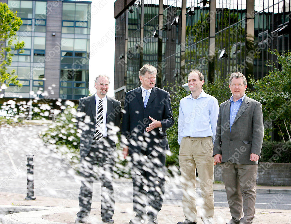 040708 L-R Brendan O'Callaghan,General Manager Schering Plough,  Professor Kieran Hodnett,Dean of the Faculty of Science and Engineering at UL and Project Leader of the newly launched Solid State Pharmaceutical Cluster , Tom O'Ceallaigh, Associate Science Director,Merk Sharp and Dohme and Liam Tully, Process Development Leader Pfizer, pictured at the Launch of the Solid State Pharmaceutical Cluster (SSPC) at the University of Limerick today. SSPC is a research group, which aims to support pharmaceutical manufacturing companies in Ireland.Pic Arthur Ellis/Press22.<br />No Reproduction Fees.......