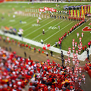 The Kansas City Chiefs players ran onto the field at Arrowhead Stadium before their contest against the Buffalo Bills in Kansas City, Mo. on October 31, 2010.
