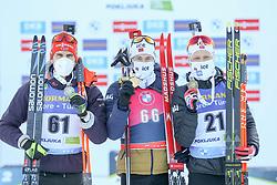 Arndt Pfeiffer of Germany - Sturla Holm Laegreid - Johannes Dale of Norway during the IBU World Championships Biathlon 20km Individual Men competition on February 17, 2021 in Pokljuka, Slovenia. Photo by Primoz Lovric / Sportida