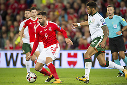 October 9, 2017 - Cardiff City, Walles, United Kingdom - Hal Robson-Kanu of wales and Cyrus Christie of Ireland during the FIFA World Cup 2018 Qualifying Round Group D match between Wales and Republic of Ireland at Cardiff City Stadium in Cardiff, Wales, United Kingdom on October 9, 2017  (Credit Image: © Andrew Surma/NurPhoto via ZUMA Press)