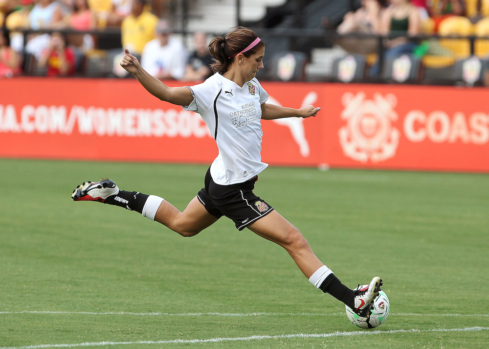 ATLANTA, GA - AUGUST 06:  Forward Alex Morgan #13 of the Western New York Flash shoots during warmups before the Women's Professional Soccer game between the Atlanta Beat and the Western New York Flash at Kennesaw State University Soccer Stadium on August 6, 2011 in Atlanta, Georgia.  (Photo by Mike Zarrilli/Getty Images)