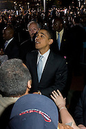 Philadelphia, PA - April 18 - Senator Barack Obama shakes supporters hands after he spoke at Independence Mall in Philadelphia days before the Pennsylvania Primary