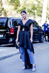 Street style, blogger Zina Charkoplia (Fashion Vibe) arriving at Guy Laroche Spring Summer 2017 show held at Palais de Tokyo, in Paris, France, on September 28, 2016. Photo by Marie-Paola Bertrand-Hillion/ABACAPRESS.COM