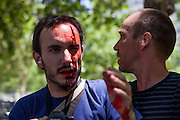 Clashes erupted Wednesday in a Madrid rally over Spanish mining cuts, injuring at least two people as some protesters hurled rocks and bottles at charging police.Madrid 2012.