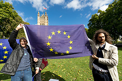 © Licensed to London News Pictures. 13/09/2017. London, UK. 'British in Europe' and 'the3million' activists gather on Victoria Tower Gardens, campaigning for the rights of EU citizens in the UK and British citizens in Europe following Brexit. Photo credit : Tom Nicholson/LNP