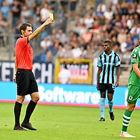 05.08.2019, Carl-Benz-Stadion, Mannheim, GER, 3. Liga, SV Waldhof Mannheim vs. TSV 1860 Muenchen, <br /> <br /> DFL REGULATIONS PROHIBIT ANY USE OF PHOTOGRAPHS AS IMAGE SEQUENCES AND/OR QUASI-VIDEO.<br /> <br /> im Bild: Gelbe Karte fuer Marius Willsch (TSV 1860 Muenchen #25)<br /> <br /> Foto © nordphoto / Fabisch