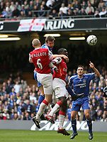 Photo: Rich Eaton.<br /> <br /> Chelsea v Arsenal. Carling Cup Final. 25/02/2007. ANdriy Shevchenko centre rises high for a header but fails to score
