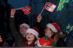 Family sing along at this years the Street of Light at the west end of George Street as part of Light Night and the acts will perform on a stage by its lights. Choirs from across Scotland including Edinburgh Festival Chorus, Royal Scottish National Orchestra Junior Chorus, Edinburgh's Got Soul and Edinburgh Rock Choir will perform in front of an expected audience of around 20,000 people.  The whole event is hosted by Forth One Arlene Stuart. Callum Skinner, gold cycling medallist will be the one pushed the button at 5pm. Sunday 20th November 2016 (c) Brian Anderson   Edinburgh Elite media