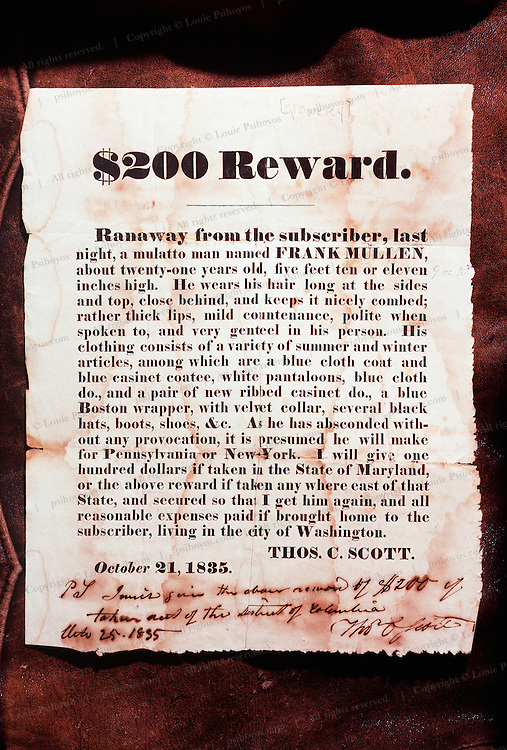 Slave catching increased  with the use of reward posters.