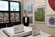 DAMIEN HIRST IN THE SHOP IN HIS EXHIBITION, Damien Hirst, Tate Modern: dinner. 2 April 2012.