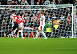 Milton Keynes Dons' David Martin saves from Manchester United's Danny Welbeck - Photo mandatory by-line: Joe Meredith/JMP - Mobile: 07966 386802 26/08/2014 - SPORT - FOOTBALL - Milton Keynes - Stadium MK - Milton Keynes Dons v Manchester United - Capital One Cup