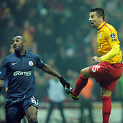 Galatasaray's Milan Baros (R) and IBBSpor's Kamil Zayatte (L) during their Turkish Super League soccer match Galatasaray between IBBSpor at the TT Arena at Seyrantepe in Istanbul Turkey on Tuesday, 03 January 2012. Photo by TURKPIX
