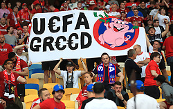 Fans hold up a banner reading 'UEFA Greed' in the stands prior to the UEFA Champions League Final at the NSK Olimpiyskiy Stadium, Kiev. PRESS ASSOCIATION Photo. Picture date: Saturday May 26, 2018. See PA story SOCCER Champions League. Photo credit should read: Mike Egerton/PA Wire