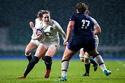 Emily Scarratt of England Women takes on Lisa Cockburn of Scotland Women - Mandatory by-line: Robbie Stephenson/JMP - 16/03/2019 - RUGBY - Twickenham Stadium - London, England - England Women v Scotland Women - Women's Six Nations