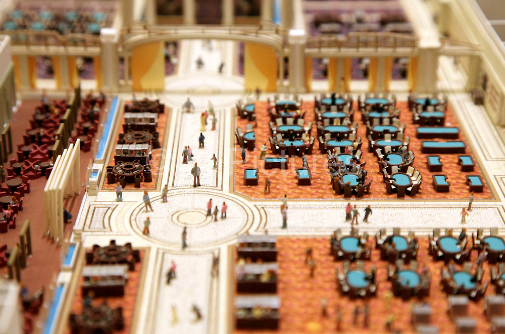 A miniature model of the soon to be completed Galaxy Macau's casino area sits at the company's office in Macau, China on 27 January 2011. A relative newcomer to the rapidly expanding Macau gambling scene, the Galaxy hopes its new casino will hold up its own against the likes of the Venetian, Wynn, MGM, and the Lisboa.