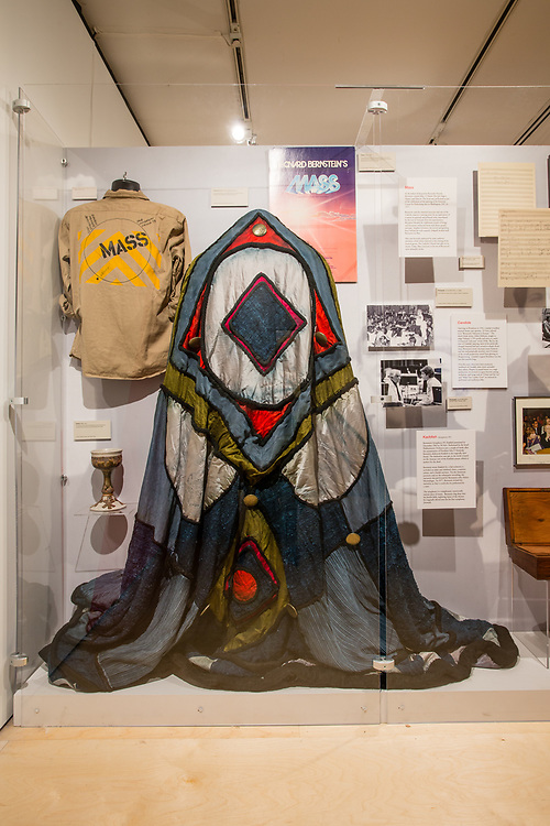 A costume for Leonard Bernstein's 1973 Mass on display at the New York Public Libary Performing Arts Library, part of a display of the Library's efforts to preserve early recordings.