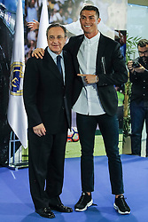 Cristiano Ronaldo and Real Madrid's president Florentino Perez during the renews of Cristiano Ronaldo's contract with Real Madrid until 2021 at Santiago Bernabeu Stadium in Madrid, Spain, on November 07, 2016. Photo by Archie Andrews/ABACAPRESS.COM