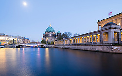 View of Museumsinsel (Museum Island) across Spree river with Berlin Dom or cathedral to rear Mitte Berlin Germany