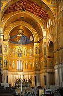 Medieval Byzantine mosaics of with a depiction of Christ Pantocrator on the apse and main altar, Monreale Cathedral, Sicily .<br /> <br /> If you prefer you can also buy from our ALAMY PHOTO LIBRARY  Collection visit : https://www.alamy.com/portfolio/paul-williams-funkystock/monrealeduomomosaics.html. Refine search by adding subject etc  into the LOWER SEARCH WITHIN GALLERY box. <br /> <br /> Visit our BYZANTINE MOSAIC PHOTO COLLECTION for more   photos  to download or buy as prints https://funkystock.photoshelter.com/gallery-collection/Roman-Byzantine-Art-Artefacts-Antiquities-Historic-Sites-Pictures-Images-of/C0000lW_87AclrOk