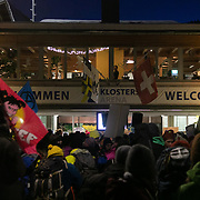 The second day of the Strike WEF march on Davos, 19th of January 2020, Switzerland. The march arriving in Klosters. The march started in Schiers and walked the 24 kilomers to Klosters.  The aim is tofinish in Davos with a public meeting in the town on the day the WEF begins. The march is a three day protest against the World Economic Forum meeting in Davos. The activists want climate justice and think that The WEF is for the world's richest and political elite only.