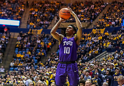 Jan 14, 2020; Morgantown, West Virginia, USA; TCU Horned Frogs forward Diante Smith (10) shoots a three pointer during the first half against the West Virginia Mountaineers at WVU Coliseum. Mandatory Credit: Ben Queen-USA TODAY Sports