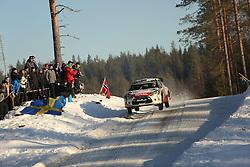 14.02.2015, Karlstad, Karlstad, SWE, FIA, WRC, Schweden Rallye, im Bild Kris Meeke/Paul Nagle (Citroen Total Abu Dhabi WRT/DS3 WRC) // during the WRC Sweden Rallye at the Karlstad in Karlstad, Sweden on 2015/02/14. EXPA Pictures © 2015, PhotoCredit: EXPA/ Eibner-Pressefoto/ Bermel<br /> <br /> *****ATTENTION - OUT of GER*****