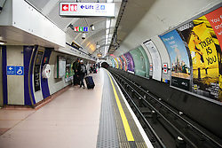 © Licensed to London News Pictures. 13/03/2020. London, UK. A nearly empty King's Cross St. Pancras underground station as people are either working from home or not travelling on the underground. A tube drive has been tested positive for the virus. 798 cases have been tested positive and ten patients have died from the virus in the UK. Photo credit: Dinendra Haria/LNP