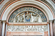 the Romanesque Baptistery of Parma, circa 1196, (Battistero di Parma), Italy .<br /> <br /> If you prefer you can also buy from our ALAMY PHOTO LIBRARY  Collection visit : https://www.alamy.com/portfolio/paul-williams-funkystock/romanesque-art-antiquities.html<br /> Type -     Parma    - into the LOWER SEARCH WITHIN GALLERY box. <br /> <br /> Visit our ROMANESQUE ART PHOTO COLLECTION for more   photos  to download or buy as prints https://funkystock.photoshelter.com/gallery-collection/Medieval-Romanesque-Art-Antiquities-Historic-Sites-Pictures-Images-of/C0000uYGQT94tY_Y