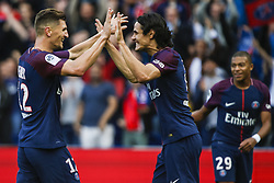 September 30, 2017 - Paris, France - Paris Saint-Germain's Uruguayan forward Edinson Cavani (C) and Paris Saint-Germain's Belgian defender Thomas Meunier (L) celebrate after scoring during the French L1 football match Paris Saint-Germain (PSG) vs Bordeaux (FCGB) on September 30, 2017 at the Parc des Princes stadium in Paris. (Credit Image: © Geoffroy Van Der Hasselt/NurPhoto via ZUMA Press)