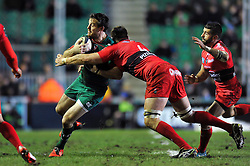Matt Smith of Leicester Tigers is tackled by Bakkies Botha of Toulon - Photo mandatory by-line: Patrick Khachfe/JMP - Mobile: 07966 386802 07/12/2014 - SPORT - RUGBY UNION - Leicester - Welford Road - Leicester Tigers v Toulon - European Rugby Champions Cup