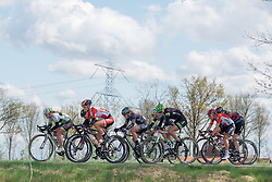 Second group on the road at Omloop van Borsele 2016. A 139 km road race starting and finishing in 's-Heerenhoek, Netherlands on 23rd April 2016.