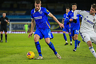 Adam Webster (4) of Brighton & Hove Albion is challenged by Patrick Bamford (9) of Leeds United during the Premier League match between Leeds United and Brighton and Hove Albion at Elland Road, Leeds, England on 16 January 2021.