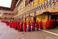 Monks in procession at the Paro Teschu festival, Paro Dzong Monastery,  Paro Valley, Bhutan