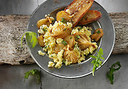 Yellow Oyster mushrooms sauteed in butter and served with scambled egg , sour dough  fried bread and wild rocket