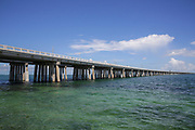 Old and new Seven Mile bridge connects the Keys to the mainland, Key West, Florida, USA