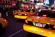 Yellow Taxi Cabs on Times Square, New York City, USA.