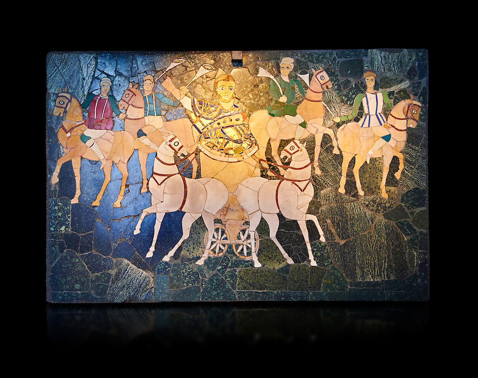 4th Century AD Roman Opus Sectile Mosaic of a chariot & 4 horses from the basilica de Giunio Basso.  Museo Nazionale Romano ( National Roman Museum), Rome, Italy. Against a black background. .<br /> <br /> If you prefer to buy from our ALAMY PHOTO LIBRARY  Collection visit : https://www.alamy.com/portfolio/paul-williams-funkystock/national-roman-museum-rome-mosaic.html <br /> <br /> Visit our ROMAN ART & HISTORIC SITES PHOTO COLLECTIONS for more photos to download or buy as wall art prints https://funkystock.photoshelter.com/gallery-collection/The-Romans-Art-Artefacts-Antiquities-Historic-Sites-Pictures-Images/C0000r2uLJJo9_s0