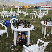 Empty beer and wine bottles at the end of the day during a day at the Races at the Cromwell Race meeting, Cromwell, Central Otago, New Zealand. 27th November 2011. Photo Tim Clayton