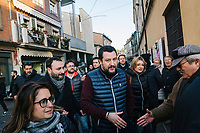 BONDENO, ITALY - 6 JANUARY 2020: Matteo Salvini, former Interior Minister of Italy and leader of the far-right League party, greets a supporter as he campaigns  in Bondeno, Italy, on January 6th 2020.<br /> <br /> Matteo Salvini is campaigning in the region of Emilia Romagna to support the League candidate Lucia Borgonzoni running for governor.<br /> <br /> After being ousted from government in September 2019, Matteo Salvini has made it a priority to campaign in all the Italian regions undergoing regional elections to demonstrate that, in power or not, he still commands considerable support.<br /> <br /> The January 26th regional elections in Emilia Romagna, traditionally the home of the Italian left, has been targeted by Matteo Salvini as a catalyst for bringing down the government. A loss for the center-left Democratic Party (PD) against Mr Salvini's right would strip the centre-left party of control of its symbolic heartland, and probably trigger a crisis in its coalition with the Five Star Movement.