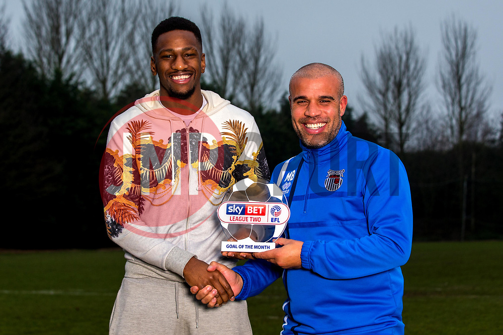 Omar Bogle of Grimsby Town is presented with the Sky Bet League Two Goal of the Month award by Manager of Grimsby Town Marcus Bignot - Mandatory by-line: Robbie Stephenson/JMP - 15/12/2016 - FOOTBALL - Cheapside Training Ground - Grimsby, England - Sky Bet League Two Goal of the Month - November