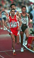 Friidrett Isaac Viciosa, Spania (174) og Said Berioui Marokko (190) løp 5000 meter under Bislett Games 1999.