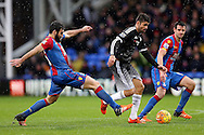 Milie Jedinak, the Crystal Palace captain challenges Diego Costa of Chelsea. Barclays Premier League match, Crystal Palace v Chelsea at Selhurst Park in London on Sunday 3rd Jan 2016. pic by John Patrick Fletcher, Andrew Orchard sports photography.
